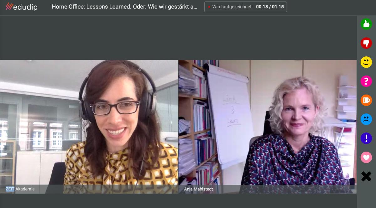 E-Learning-Managerin Ximena Rodriguez und Expertin Anja Mahlstedt im ZEIT-Akademie-Webinar über Home-Office auf dem Bildschirm