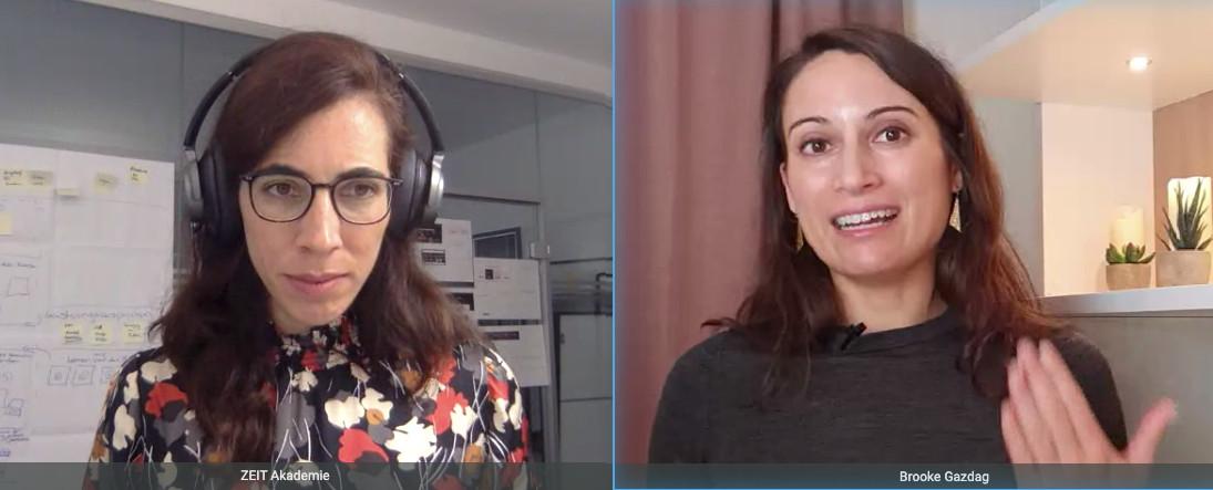 Bildschirmfoto von Ximena Rodriguez und Prof. Brooke Gazdag im Webinar der ZEIT Akademie.