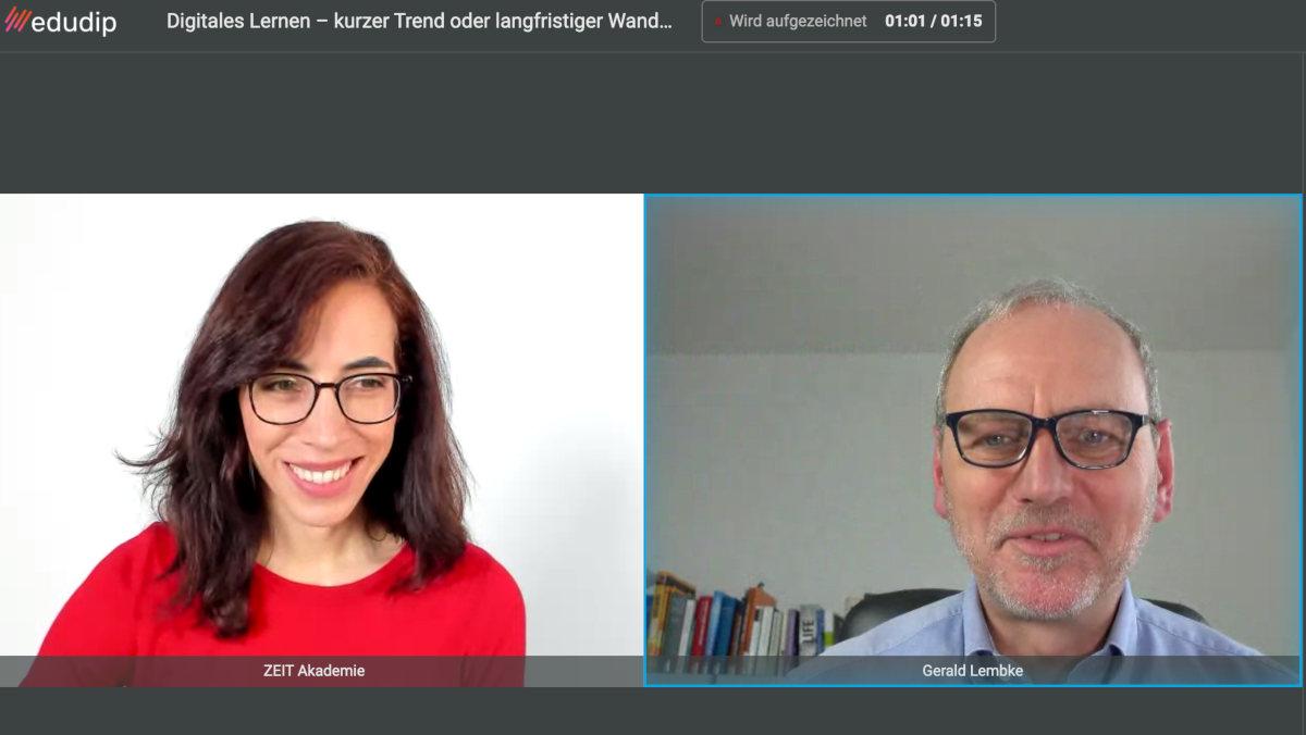 """Die E-Learning-Managerin der ZEIT-Akademie Ximena Rodriguez im Webinar """"Digitales lernen"""" mit Prof. Dr. Gerald Lembke."""