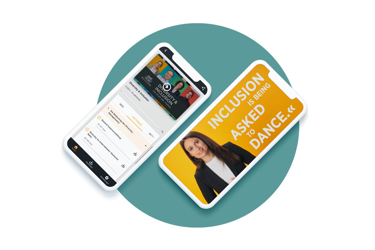 2 Handy-Ansichten der ZEIT Akademie-App von oben